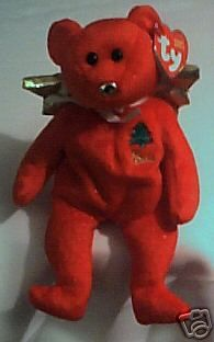 PEACE the Red Christmas Angel Bear - Ty Beanie Baby