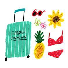 illustration   summer things, via @behance by bonbonohri