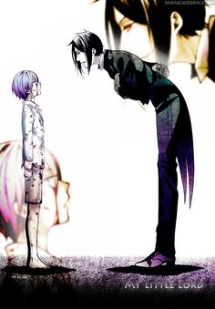 """""""Well, aren't you a very young master. You have summoned me. This fact will not change for all eternity. What has been sacrificed will never be returned. Now... choose."""" - Sebastian Michaelis - Manga Kuroshitsuji - Chapter 61 - Page 22 - Ciel and Sebastian first meeting"""