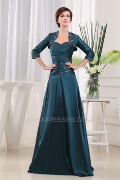 55dd1f3fc A-Line Floor-Length 3 4 Sleeve Satin Taffeta Mother of the Bride Dresses  with A Jacket 2040067. Trajes De Madrina
