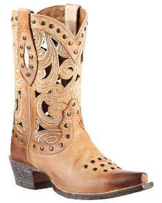 Ladies Ariat Paloma Oak Barrel Swirl Cutout Distressed Leather Cowboy Boot