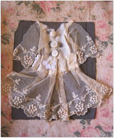 Gorgeous dress in altered book. Page by Karla Nathan. Round Robin book swap, altered book, vintage by Shabby Vintage, Vintage Crafts, Altered Books, Textiles, Tissu Style Shabby Chic, Mini Robes, Fabric Journals, Linens And Lace, Scrappy Quilts