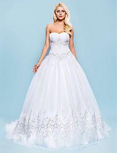 Ball Gown Sweetheart Court Train Organza Wedding Dress - USD $ 296.99