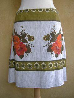 Vintage tafelkleed Rok A-lijn rok Vijftiger Jaren door LUREaLURE