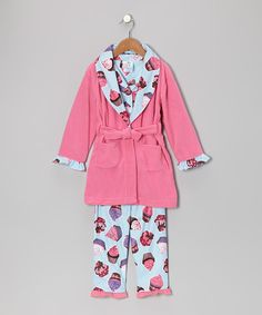 Bath time flows effortlessly into a bedtime story with the help of this cuddly set. Elastic-waistband pants and a matching long-sleeve top are easy to slip on, while a fleece robe makes for a comfortable extra layer.Includes top, bottoms and bathrobe100% polyesterMachine wash; tumble dryImported