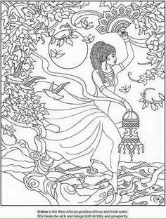 Free coloring page coloring-adult-african-goddess-love-and-fresh-water. Coloring  page of Oshun, the African goddess of love and fresh water