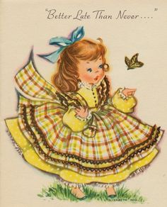 Unused, Sweet Little Girl In Yellow Dress With Butterfly, Vintage Birthday Card! Vintage Birthday Cards, Vintage Greeting Cards, Birthday Greeting Cards, Vintage Postcards, Vintage Pictures, Vintage Images, Old Cards, Gif Animé, Partys