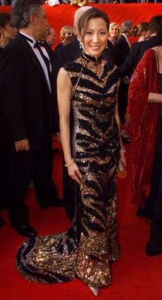 Michelle Yeoh in a glittering Qipao on the red carpet...
