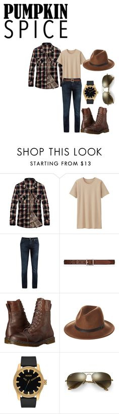 """Coffee Date with Bae"" by slayedbyk on Polyvore featuring Uniqlo, Jacob Cohën, Yves Saint Laurent, Dr. Martens, RHYTHM, Nixon, Ray-Ban, men's fashion and menswear"