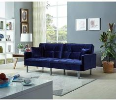 Mercer41 Gladeview Sleeper. Gorgeous blue couch sleeper. #bluecouch #bluedecor #homedecor #couch
