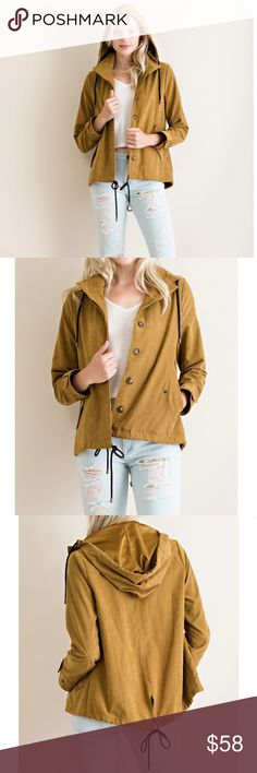 Lightweight dark tan button down jacket Solid lightweight woven button down jacket. Perfect for fall and to layer over a sweater or tee. Beautiful fall color in a deep tan color, fabric feels like a lightweight suede.  100% Polyester  Jacket features:  - hood - front drawstring - backtie - 2 side pockets - unlined Jackets & Coats