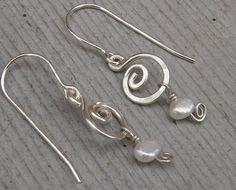 Little Swirl Fresh Water Pearl Earrings  by nicholasandfelice, $22.00