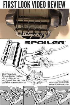 The Vibramate String Spoiler is designed to maintain the same smooth operation and feel of the classic Bigsby vibrato and may even increase the potential range of pitch bending. The fulcrum positio…