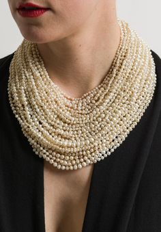 Unique Pearl 37 Strand Necklace - May 04 2019 at Trendy Fashion Jewelry, Fashion Jewelry Necklaces, Pearl Jewelry, Statement Jewelry, Gold Jewellery, Silver Jewelry, Silver Ring, Women's Fashion, Jewellery Shops