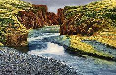Mark McDermott   WATERCOLOR Fjaorargljufur Canyon, Iceland