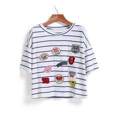 SheIn(sheinside) Blue Short Sleeve Striped Logo Pattern T-Shirt ($12) ❤ liked on Polyvore