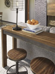 Torjin Brown and Gray Long Counter Height Dining Table -- for rec room?