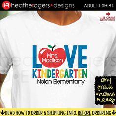Teacher Kindergarten Shirt  Back to School by HeatherRogersDesigns