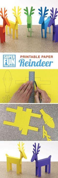 Printable paper reindeer