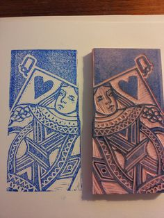 Chai Tea porter label. High school project, create your own playing cards....but must cut out one design as lino cut...