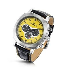 【送料無料】【ケネット(Kennett)】KENNETT Men's Quartz Watch with Yellow Dial Chronograph Display and Black Leather Strap 2001.4103【楽天市場】