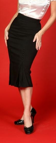 Pencil skirt with side kick pleat