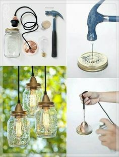 Make your own hanging lights with mason jars Mason Jar Crafts, Mason Jar Lamp, Bottle Crafts, Mason Jar Chandelier, Decor Crafts, Diy Home Decor, Creation Deco, Mason Jar Lighting, Diy Mason Jar Lights