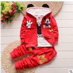 Autumn Baby Girls Boys Clothes Sets Cute Minnie Infant Cotton Suits Coat+T Shirt+Pants 3 Pcs Casual Sport Kids Child Suits