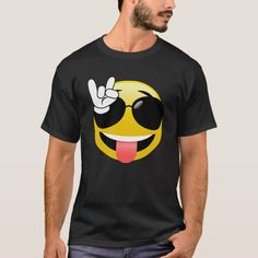 Rock on! What a fun t-shirt for anyone who likes rock music and emojis or emoticons! Size: Adult L. Funny Emoticons, Smile Design, Fashion Catalogue, Teacher Shirts, Funny Faces, Tshirt Colors, Cool T Shirts, Fitness Models, Cool Outfits