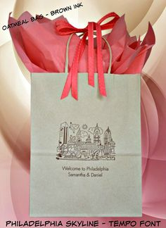 #weddingwelcomebags  ~With views overlooking Independence Park and the lively streets of Philadelphia, this couple got married at the Hotel Monaco Philadelphia. Samantha and Daniel loved the organic look of the oatmeal bag paired with the coral tissue paper and ribbon. To view the entire portfolio of original design and an easy ordering system, visit www.favorsyoukeep.com or call 512.323.0600. Since 1987!