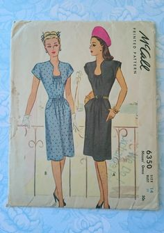 LOVE this pattern illustration- this fabulous 1940s dress has a very pretty and flattering gathered neckline and gathers on the cap sleeves. And