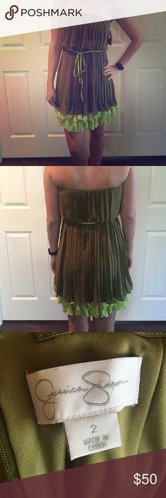 NWT Jessica Simpson Dress Pristine and never worn! Comes with removable straps so you can wear with or without. Size 2 but runs big enough for me (normally a 6) to wear it but it is just a little tight on me. Beautiful olive green. Jessica Simpson Dresses