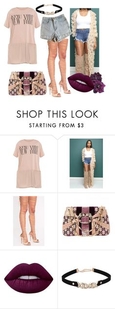 """""""Sheer nude"""" by jayajav ❤ liked on Polyvore featuring beauty, American Apparel, Gucci and Lime Crime"""