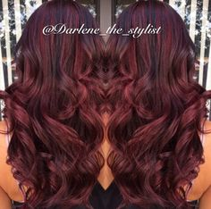 Red balayage with dark brown lowlights