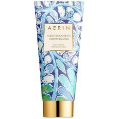 AERIN Mediterranean Honeysuckle Body Cream/5 oz. (£46) ❤ liked on Polyvore featuring beauty products, bath & body products, body moisturizers, beauty, fillers, fillers - blue, makeup, cosmetics, apparel & accessories and no color