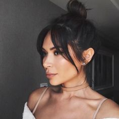 The coolest hairstyles you want to have this fall - woman with dark hair . - The coolest hairstyles you want to have this fall – woman with dark hair and bardot bangs – - Fringe Hairstyles, Hairstyles With Bangs, Straight Hairstyles, Cool Hairstyles, Bangs Hairstyle, Braid Bangs, Formal Hairstyles, Short Dark Hair, Long Hair With Bangs