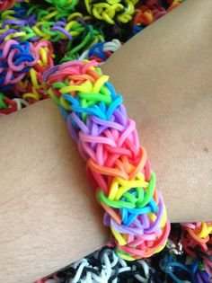 Thick rainbow rubber band bracelet