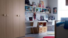 Kids Room Large Size Wooden Cupboard Small White Bookcase Modern Double Study Desk For Kids Two White Chairs White Wall Paint Color Extraordinary Useful Multi-Functional Desk For Your Lovely Kids