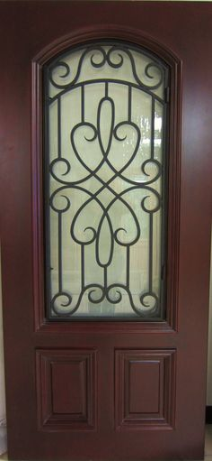 ARCH TOP IRON GRILL MAHOGANY WOOD DOOR