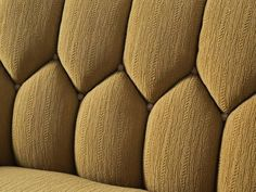 Danish Curved Sofa in Yellow and Brown Velours 7