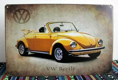 Free Shipping New listing art wall decor Vintage VW Beetle car PAINTING Metal Poster Retro Mural Painted Pub home decor 20*30CM $6.99