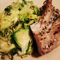 Tonight's dinner! Roasted pork loin with sautéed brussel sprouts and leeks! | www.MommyHiker.com #Healthy #Food #KidApproved