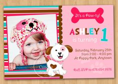 Pink Puppy Birthday Invitation  Custom by printablecandee on Etsy, $10.00