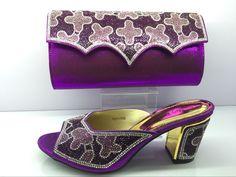 Luxus pu-leder schuhe pass mit handtasche stellt für partei dame African sandale und für MF09 Lila farbe //Price: $US $60.96 & FREE Shipping //     #cocktailkleider