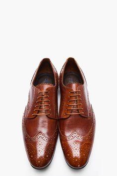 PS PAUL SMITH Tan Leather Milton Dip Dyed Wingtip Brogues