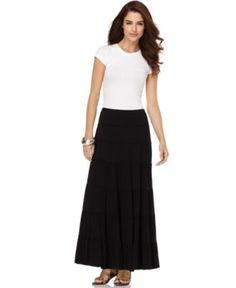 Black Maxi Skirt Option - Studio M Skirt, Tiered Pleated Solid Jersey - Womens Skirts - Macy's