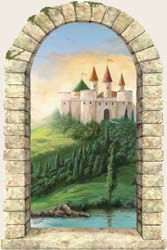 Our playroom mural- Faux Castle Window Peel & Stick