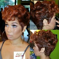 African American Hairstyles: Gorgeous Short Haircut love her look and color! Short Hair Styles Easy, Curly Hair Styles, Natural Hair Styles, Short Cuts, Short Hair Styles For Round Faces, Pixie Styles, Short Hair Cuts For Women, Love Hair, Gorgeous Hair