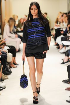 Sonia Rykiel - Spring 2015 Ready-to-Wear - Look 31 of 46 Blue sequin stripes yes please! And matching bag? Hell yes please.  Model Liu Wen (Elite)