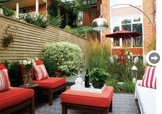Modern garden with red accents